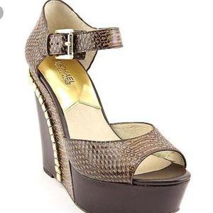 Michael Kors Brown Studded Wedge Heel
